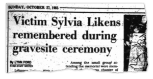 Sylvia Gravesite Ceremony Newspaper Clipping